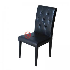 Dark blue dining chair Grey buckle backrest All-inclusive leather upholstery and firm Black hardware chair foot Restaurant chair