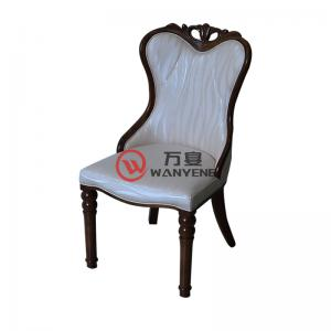 High-end solid wood upholstery leather chair with portable backrest Hotel restaurant dining chair European style chair