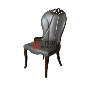 High-end grey leather dining chair fan-shaped solid wood dining chair coffee shop chair hotel dining chair