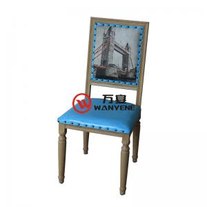 Hardware with wood grain veneer dining chair copper nail edging personality spray dining chair industrial theme style dining chair stable structure