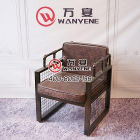 Wrought iron industrial theme soft seats cushion Iron mesh side handrails Bronze chairs Armrests Soft leather upholstery Backs Chairs