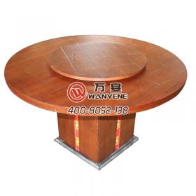Brown round hot pot table square barrel personalized table detachable turntable round solid wood hot pot table