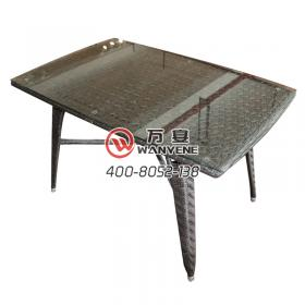 Square rattan table Desktop tempered glass Hardwar...