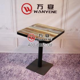 Square coffee table black border custom pattern black matte hardware feet tea shop restaurant table