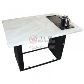 White marble breakfast table black matte hardware feet automatic water tea hot pot table with induction cooker hot pot table breakfast hot pot table