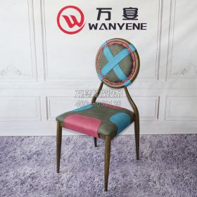Hardware round backrest iron chair green cushion chair Cafe dessert shop dining chair