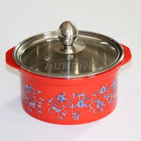 Red pattern steel pot Induction cooker insulation ...