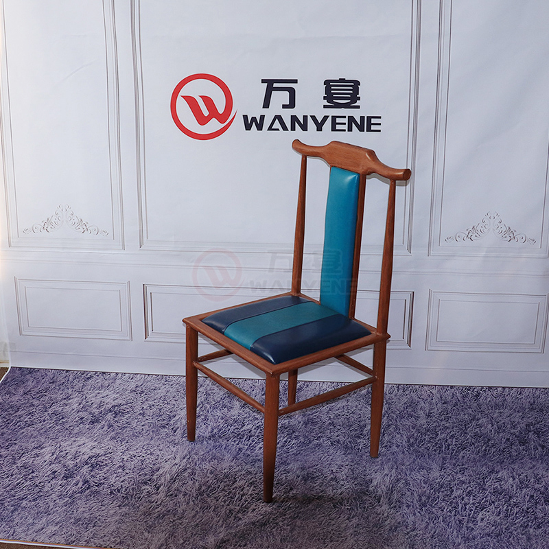 Metal with wood grain veneer brown leather seat cushion chair horn dining chair Chinese style dining metal frame dining chair