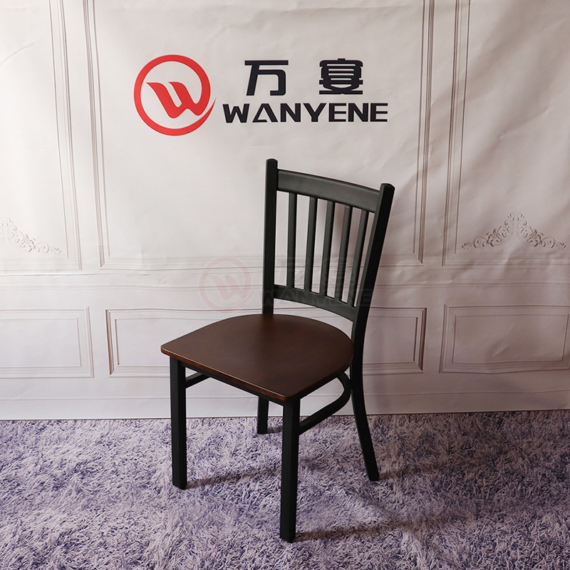 Black matte solid wood seat-plank dining chair Industrial theme style chair Musical restaurant accessory furniture Customized