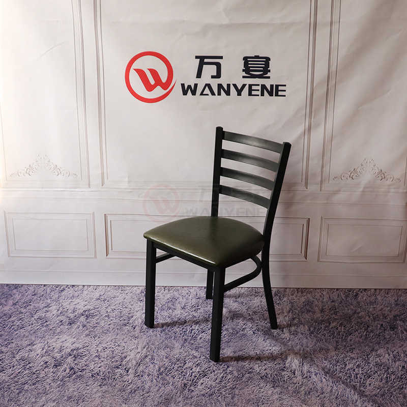 Black matte hardware dining chair soft seat cushion industrial style western restaurant chair music theme dining chair