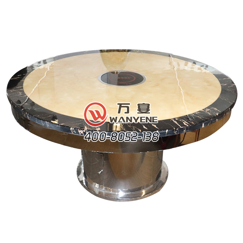 Black round table side marble top hotpot table with electromagnetic stove hotpot table Bright stainless steel round foot