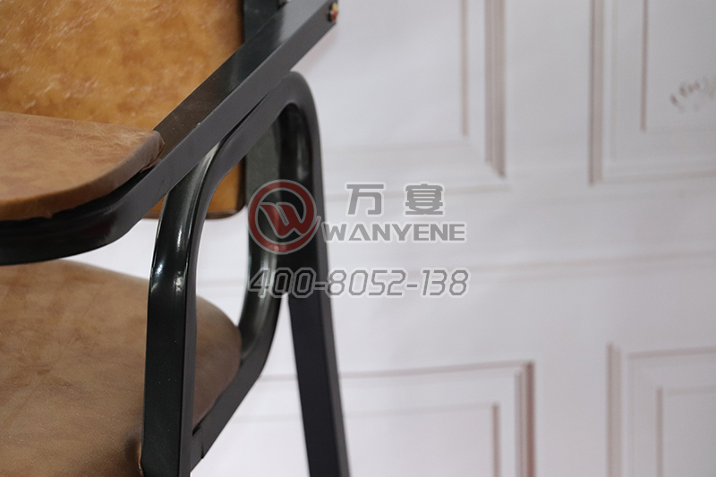 High-end restaurant child chair U-type brown leather metal baby dining chair with armrests children dining chair