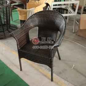 Black brown dining chair with armrests backrest outdoor waterproof rattan chair