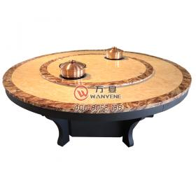 High-end marble-top hot pot table with Lazy Susan Middle 2 induction cooker Black matting hardware hot pot base 16 peopl