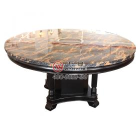 West European style marble top round black hot pot table antique classical style