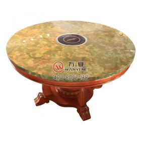 Round Marble top Induction Cooker Hot Pot Table Jade Pattern Solid Wood Chinese Style Hot Pot Table