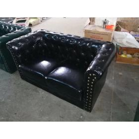 Black brown leather chesterfield sofa 2 seater sof...