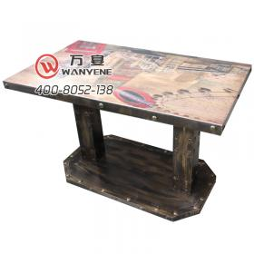 Industrial Theme style dining table antique solid copper nail metal edging customized desktop printing hardware iron steel column copper nail foot dining table