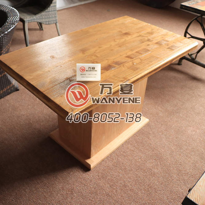 Solid wood in wax fining square dining table with Plywood base antique table with side bucket hot pot table --The Product Image' style=