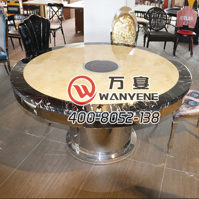 Black round table side marble top hotpot table with electromagnetic stove hotpot table Bright stainless steel round foot --The Product Image' style=