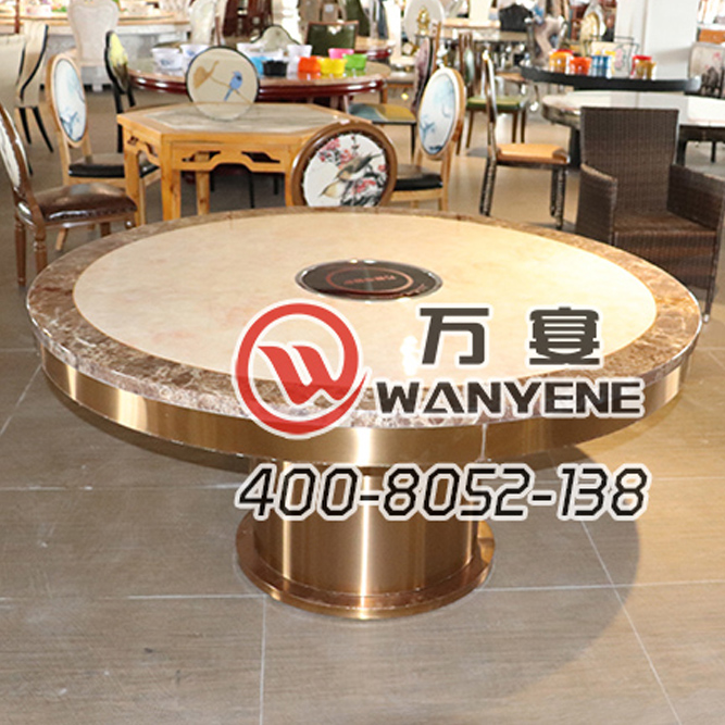 Golden marble top dining table Induction cooker hot pot table S.S hot pot table Golden brushed stainless steel base hot pot table --The Product Image' style=