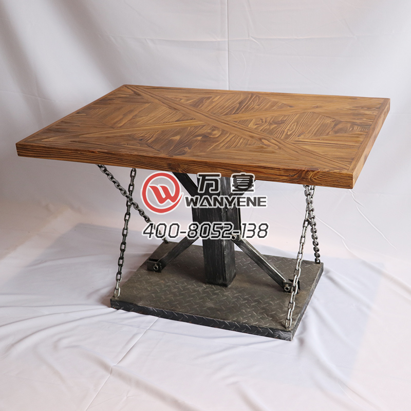 Square industrial iron art solid wood desktop table chain style table desktop hardware industrial iron art base --The Product Image' style=