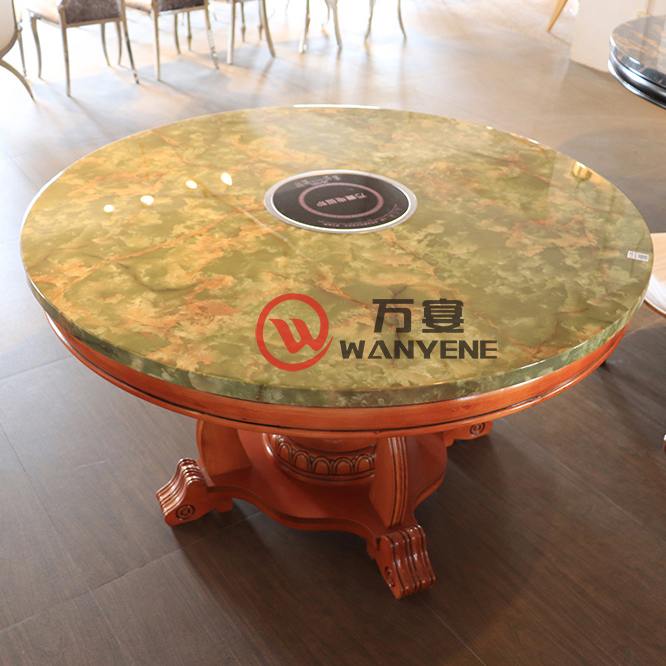Round Marble top Induction Cooker Hot Pot Table Jade Pattern Solid Wood Chinese Style Hot Pot Table --The Product Image' style=