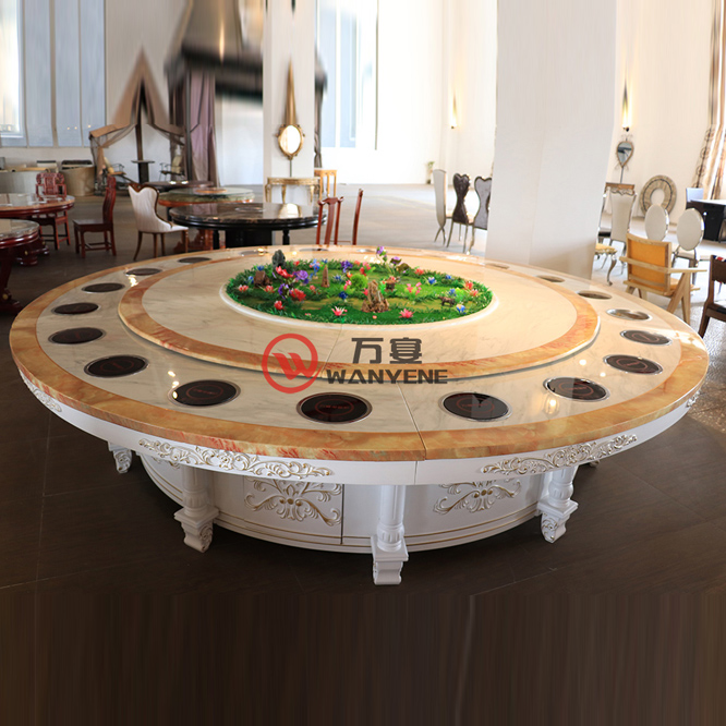 High-end aristocrats Round marble hotpot table with flowers and plants decoration Golden carved stainless steel table ba --The Product Image' style=