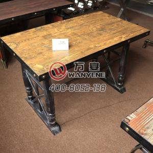 Iron Art Dining Table Solid Wood Square Table Metal Edge Copper Nail Decoration Hardware Table Base