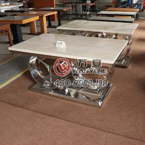 Marble top dining table metal hot pot table imitating Mercedes-Benz car Logo table hardware west dining table light stainless steel car Logo dining table