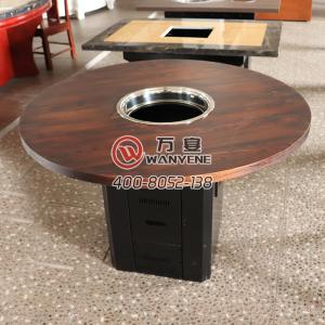 Round old hot pot table Fire wood hot pot table Mi...