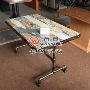 Iron Art Dining Table Pipe style Dining Table Solid Wood Customize Pattern Top Iron Edge Brass Pins Special Western Restaurant Dining Table