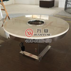 Marble round Open hole induction cooker hot pot table Bright stainless steel Square bucket foot dining table With smokel