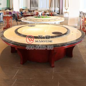 With turning-table-top High-end marble hot pot tab...