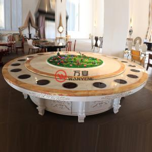 High-end aristocrats Round marble hotpot table with flowers and plants decoration Golden carved stainless steel table ba