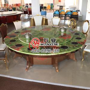 Large round marble hotpot table 16-person sitting ...