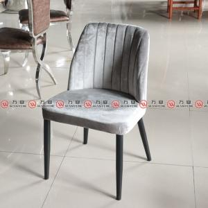 Black metal iron frame dining chair velvet fabric ...