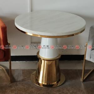Stainless steel marble top side table golden plated metal dining table 2328