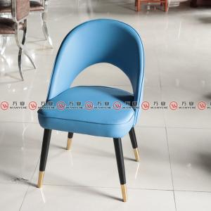 Solid wood dining chair with leather upholstery an...