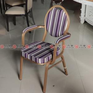 Iron frame arm chair with wood grain veneer restau...