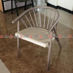 Imitate wood grain chair metal frame soft cushion ...