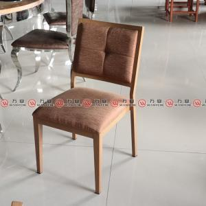Aluminum dining chair with imitate wood grain fini...