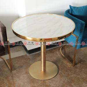 Golden stainless steel marble dining table 1151