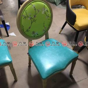 Round back industrial vintage style hot pot chair restaurant dining chair 2364
