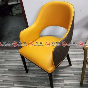 Yellow color dining chair with arm set hot pot res...