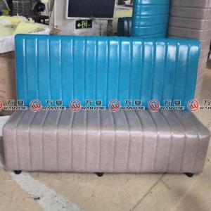 Blue and gray booth sofa with PU leather covering ...