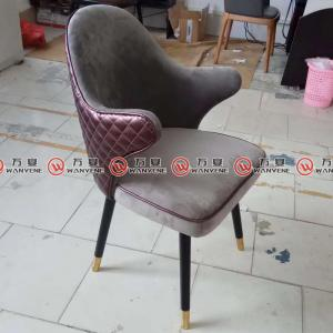 Restaurant velvet fabric dining chair solid wood l...