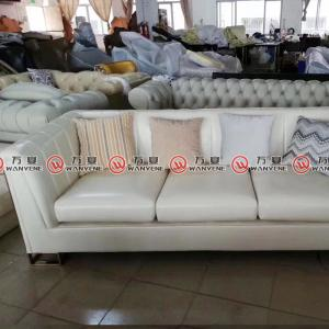 White leather sofa with stainless steel legs wood ...