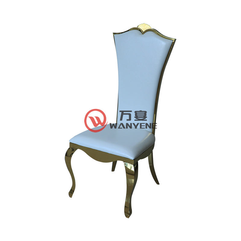 Gold Plated Stainless Steel Chair White Seat Backrest Fan-shape Chair Restaurant Hotel Chair European Classic Dining Chair