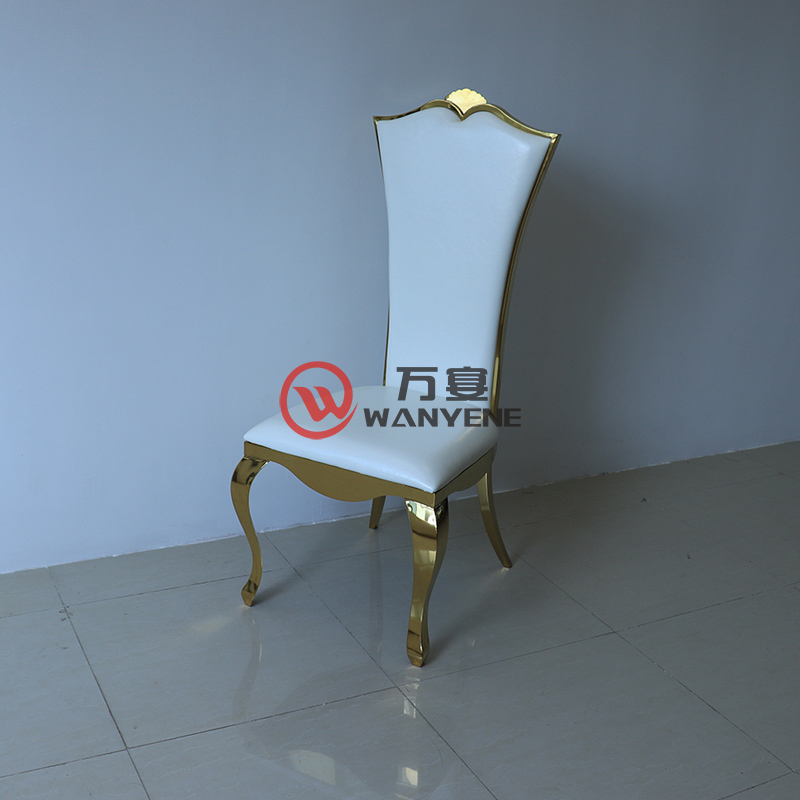 Gold Plated Stainless Steel Chair White Seat Backrest Fan-shape Chair Restaurant Hotel Chair European Classic Dining Chair --The Product Image' style=